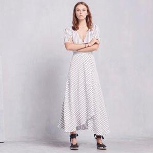 REFORMATION Larkin Wrap Striped Short Sleeve Dress